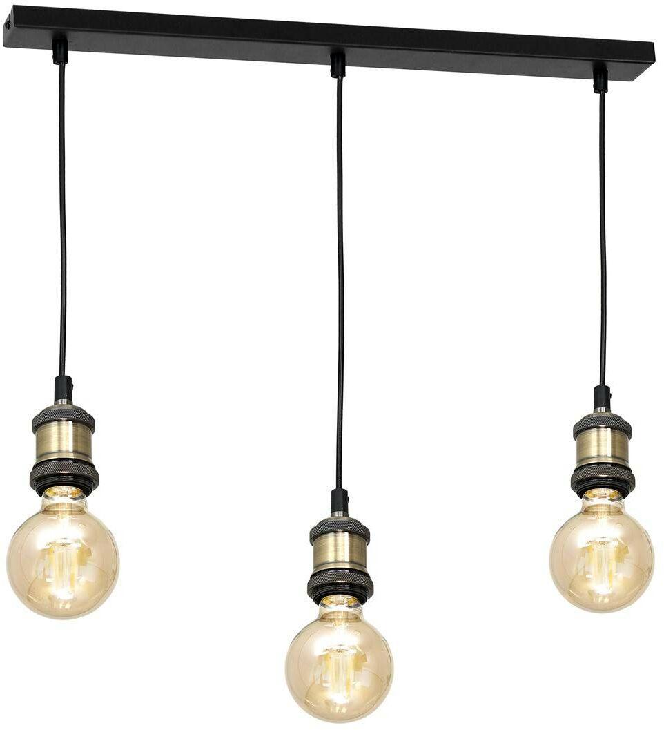 Lampa wisząca EDISON CZARNY/MOSIĄDZ 3xE27
