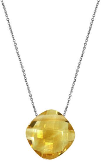 Srebrny naszyjnik 925 kamień cytryn poduszka