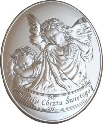 Srebrny obrazek z Aniołem Stróżem z latarenką