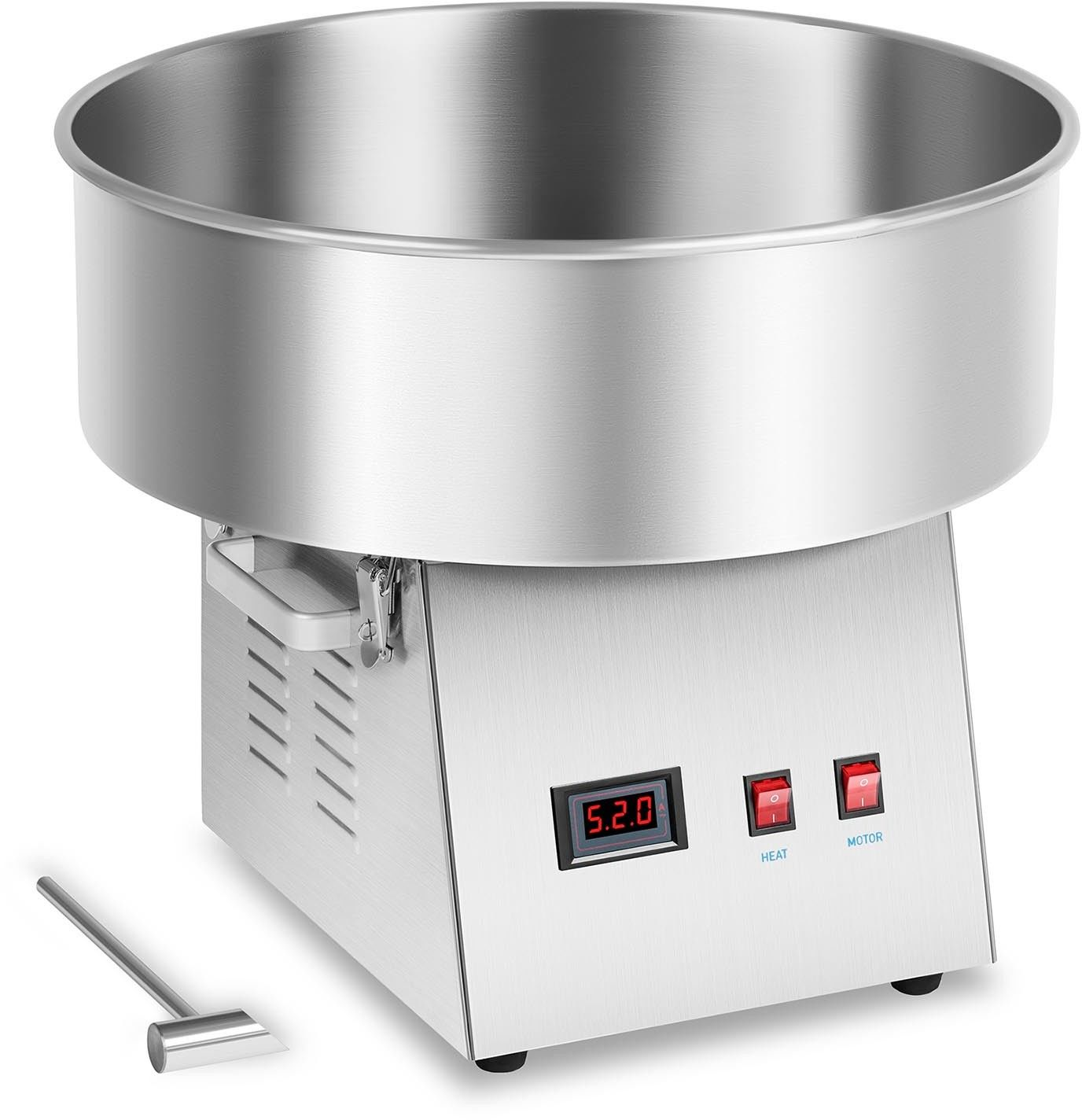 Zestaw Maszyna do waty cukrowej - 52 cm - LED + Pokrywa - akryl + Świecące pałeczki - LED - 50 szt. - Royal Catering - RCZK-1030-W SET2 - 3 lata