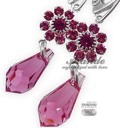 Nowe Swarovski Piękne Kolczyki Rose Feel Srebro