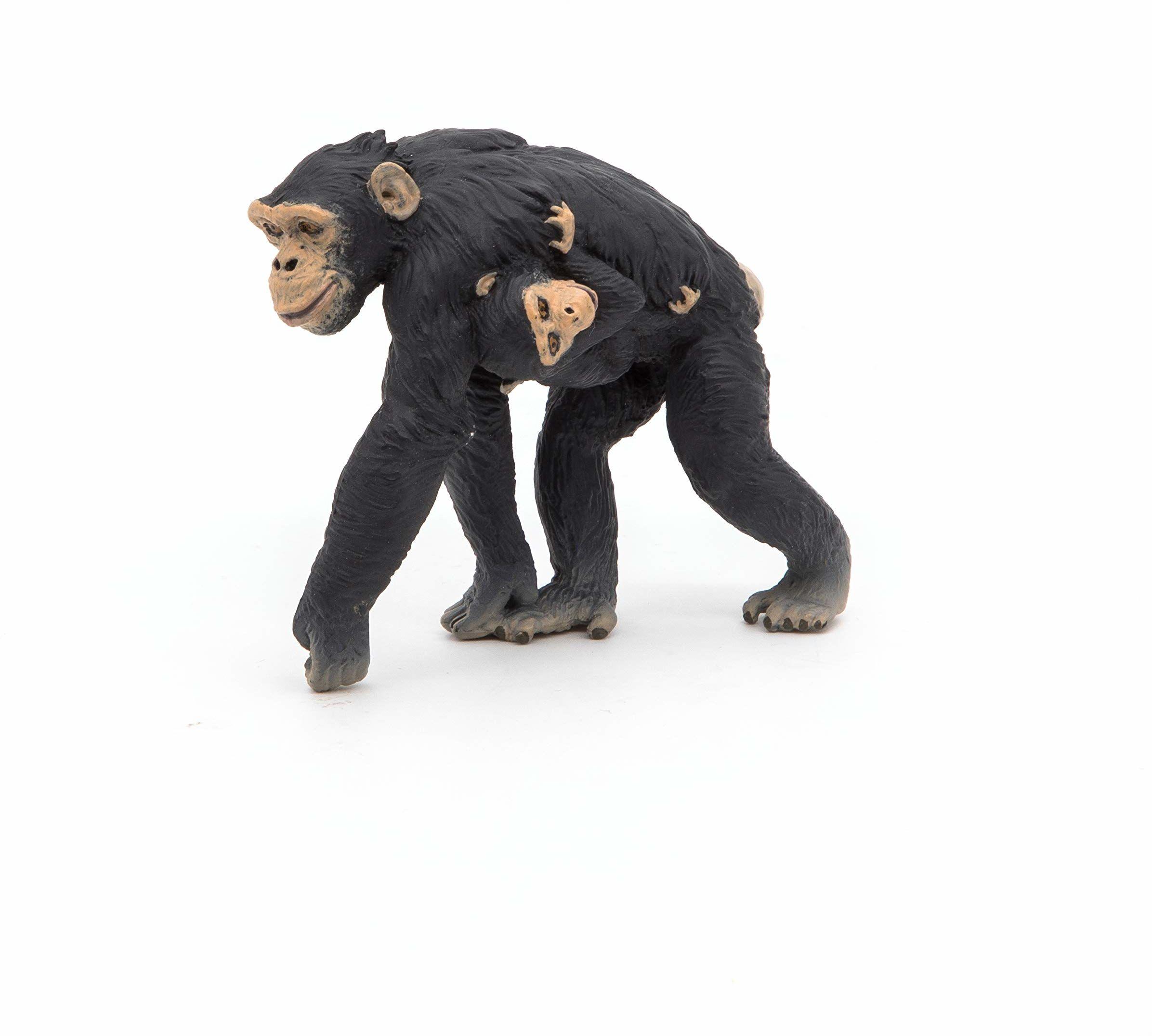 Papo 50194 Szympans i dziecko WILD Zwierzęta Figurka Królestwa Anioła, wielokolorowa