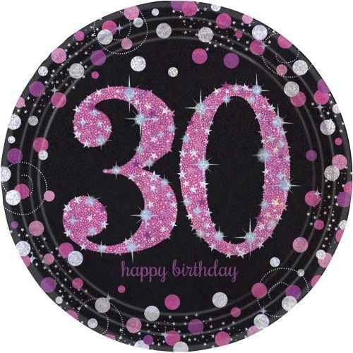 Talerze na 30 urodziny różowe Sparkling Celebration