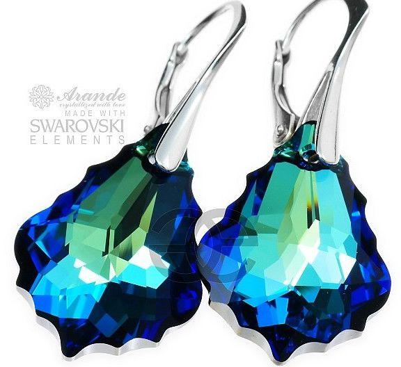 Kryształy piękne kolczyki BERMUDA BLUE SREBRO