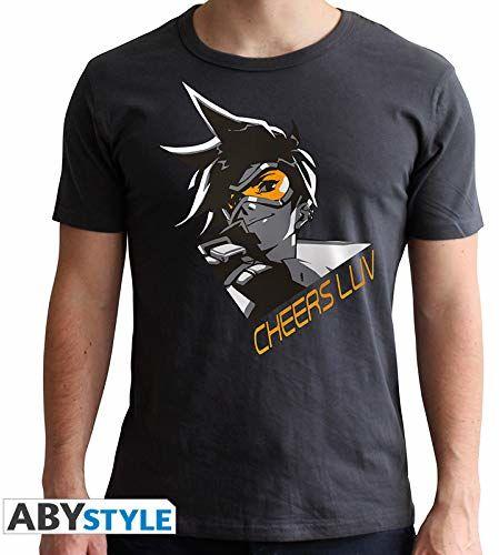 ABYstyle ABYstyleABYTEX426-X-Small Overwatch Abysse Over Watch Tracer krótkie rękawy męska nowa koszulka dopasowana, ciemnoszary, X-Small