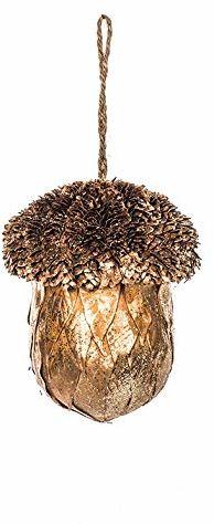 EUROCINSA 28262 Bellota zawieszka złota z polistyrenu na pomarańczowych liśćch i błyszczące szyszki, 12 Ø x 14 cm 6 sztuk, złota, 12 cm