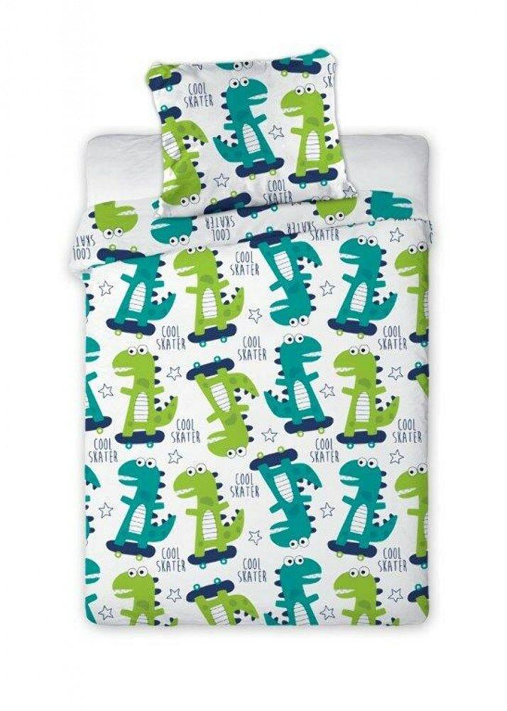 Pościel bawełniana 100x135 Bąbelkowo 002 Dinozaury zielone turkusowe na deskorolce 2807 poszewka 40x60 dziecięca