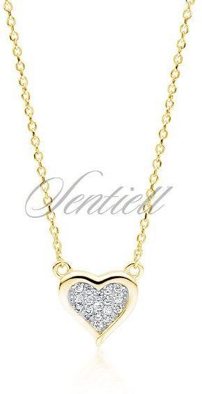 Srebrny pozłacany naszyjnik pr.925 serce z cyrkoniami - żółte złoto rodowanie