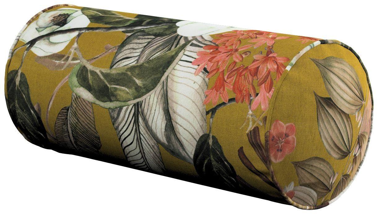 Poduszka wałek prosty, kwiaty na musztardowym tle, Ø16  40 cm, Abigail