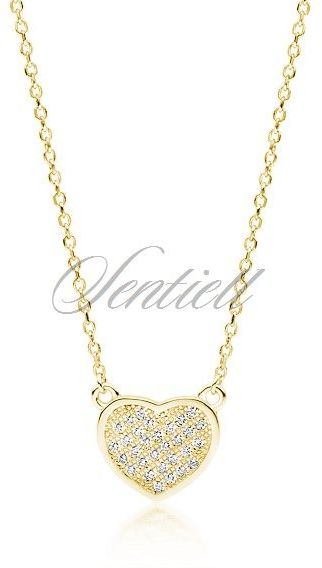 Srebrny pozłacany naszyjnik pr.925 serce z cyrkoniami - żółte złoto