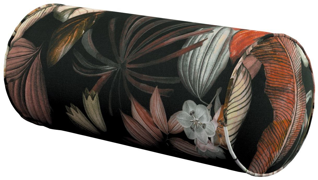 Poduszka wałek prosty, kolorowe kwiaty na czarnym tle, Ø16  40 cm, Abigail