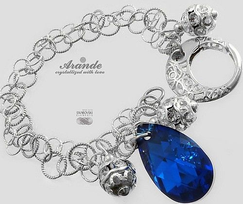 Kryształy Piękna Bransoletka Blue Comet Srebro