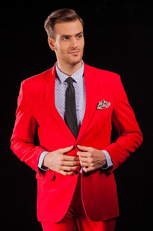 Czerwony garnitur męski Dragon