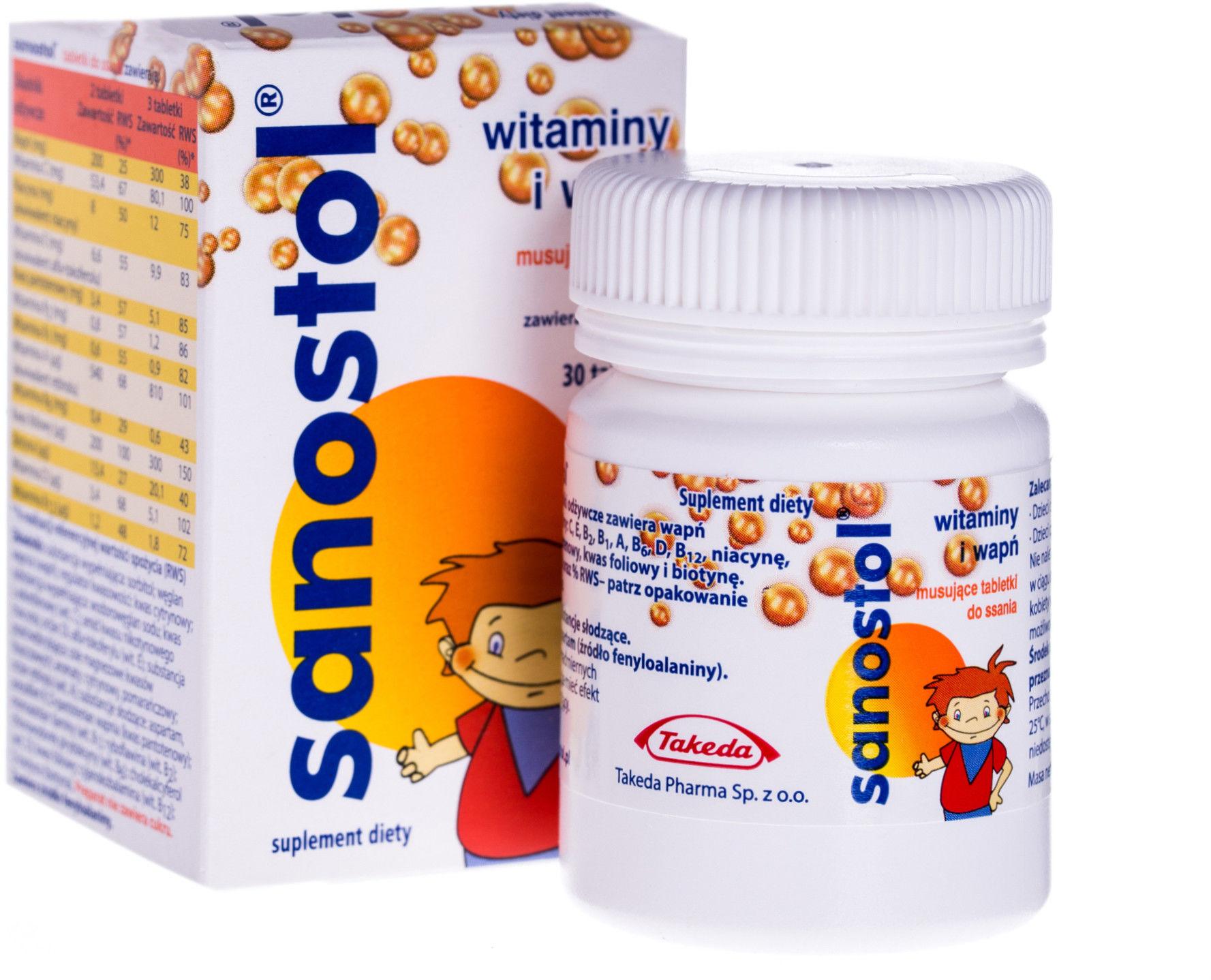 Sanostol witaminy i wapń 30 tabletek musujących do ssania