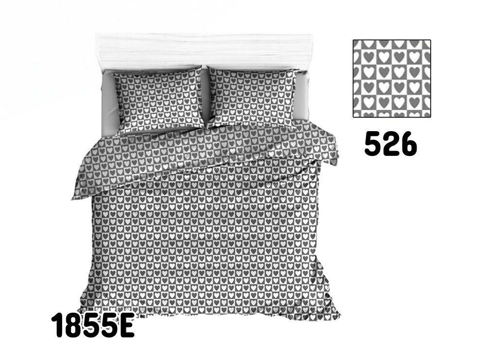Pościel bawełniana 160x200 1855E szara biała serca kwadraty