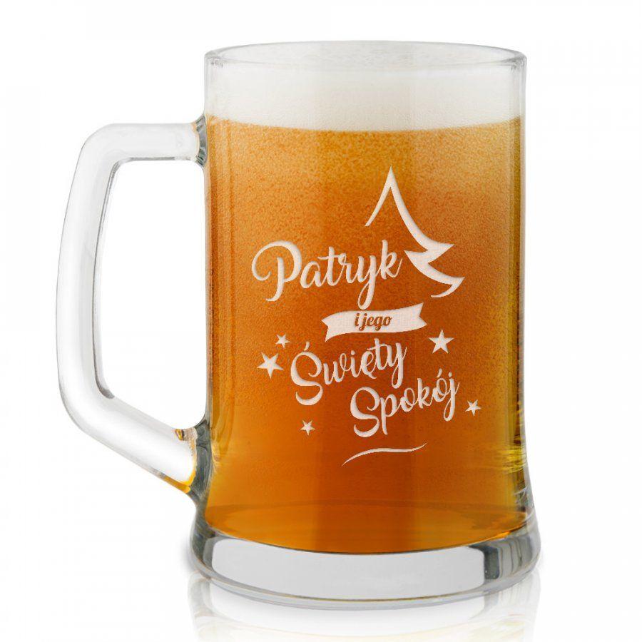 Kufel szklany do piwa z grawerem dla niego na święta
