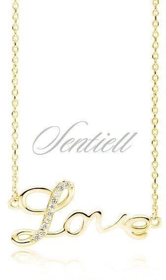 Srebrny pozłacany naszyjnik pr.925 napis love - żółte złoto