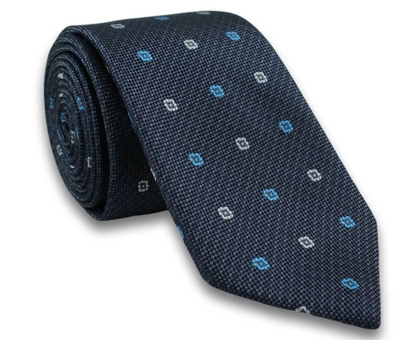 Elegancki Krawat Męski w Kwadraciki - 6,5cm- Chattier, Granatowy, Kolorowy KRCH0888