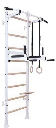Drabinka gimnastyczna z drewnianymi szczebelkami, poręczą i akcesoriami 413 BenchK 240 x 67 cm - 413