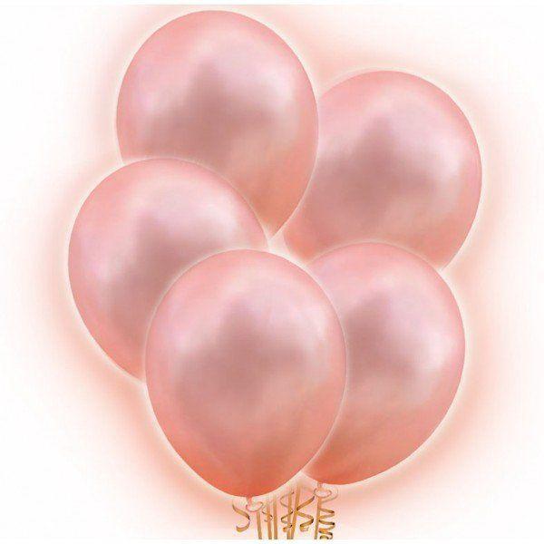 Balony LED świecące różowe złoto 5 sztuk BAL115
