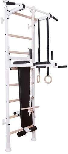Drabinka gimnastyczna z drewnianymi szczebelkami, poręczą, ławką i akcesoriami 414 BenchK 240 x 67 cm - 414