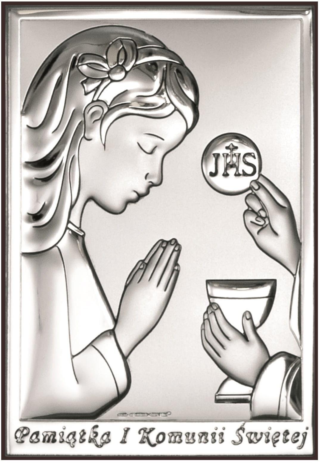 Obrazek srebrny na Komunię Świętą