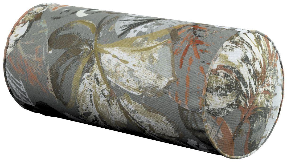 Poduszka wałek prosty, brązowe, beżowe, morelowe kwiaty na szarym tle, Ø16  40 cm, Abigail