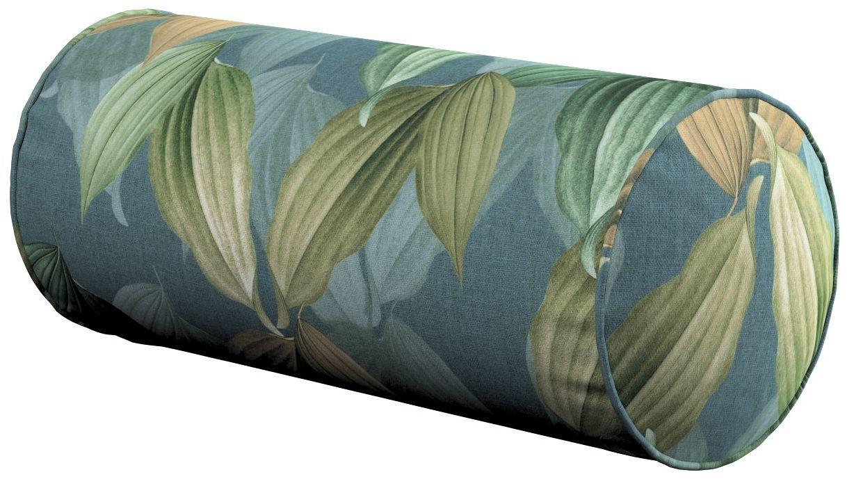 Poduszka wałek prosty, zielone, beżowe liście na niebiesko-zielonym tle, Ø16  40 cm, Abigail