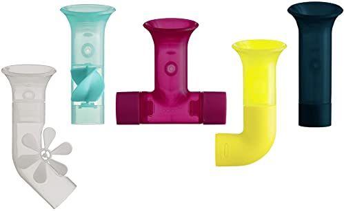 Boon B11379 zabawka, akcesoria dla niemowląt i małych dzieci, 5 godzin kąpieli wodnej, odpowiednie dla 1, 2, 3 i 4 lat, fajki wielokolorowe