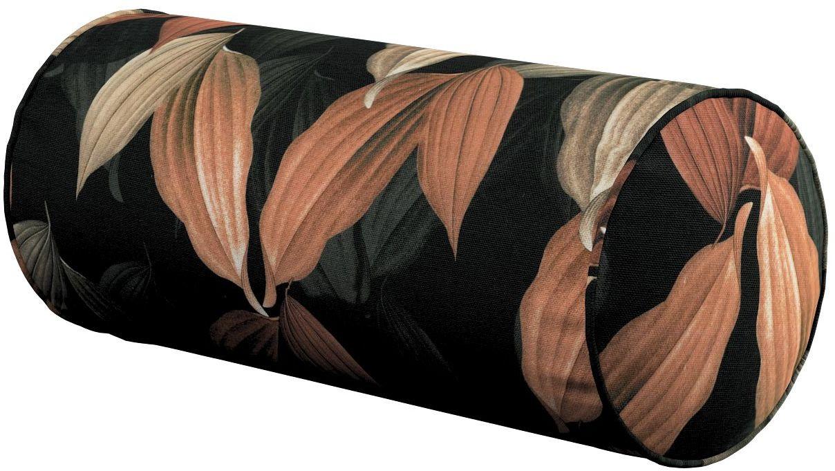 Poduszka wałek prosty, brzoskwiniowo-brązowe liście na czarnym tle, Ø16  40 cm, Abigail