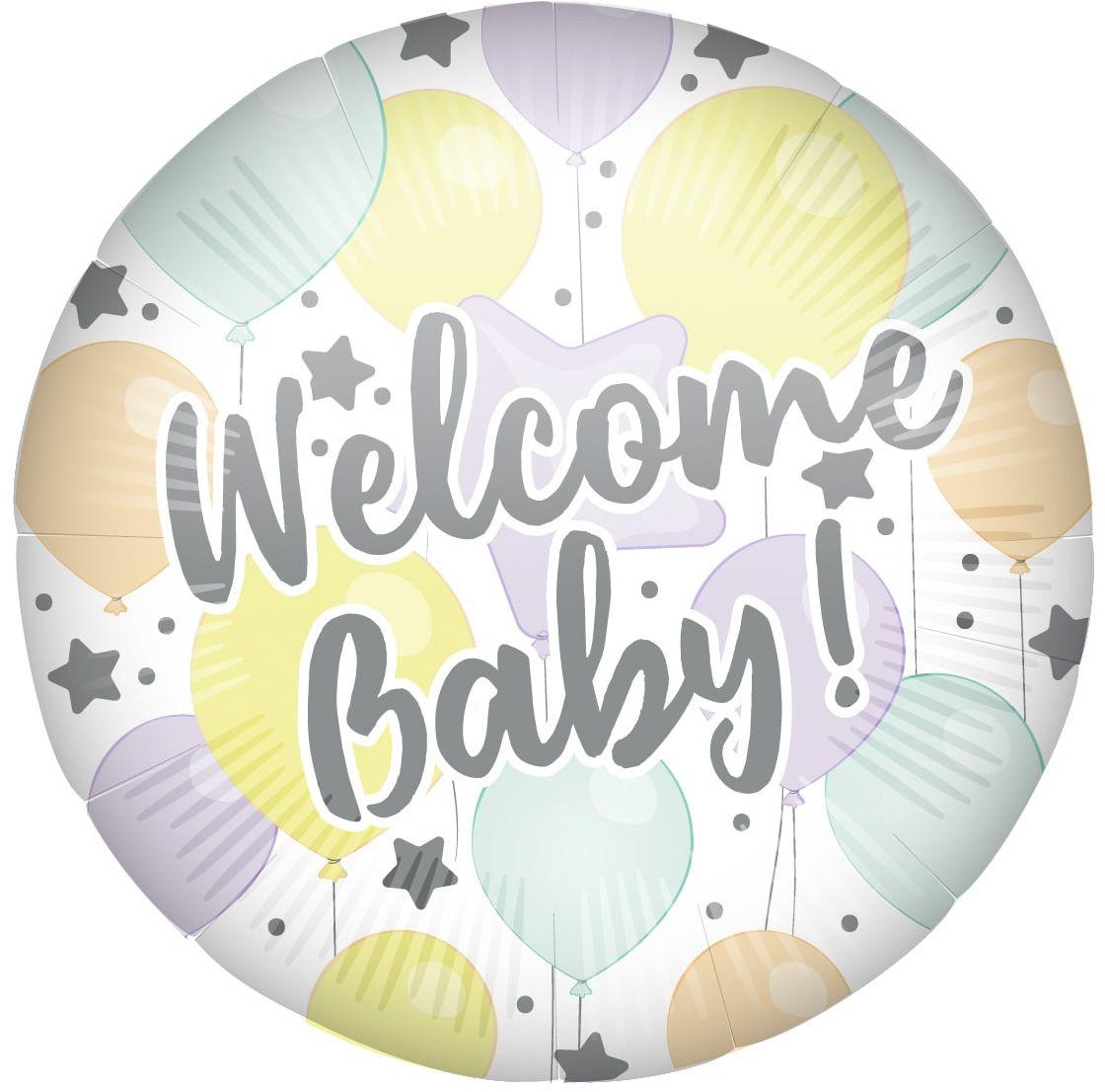 Balon foliowy Welcome Baby! na Baby Shower - 46 cm - 1 szt.