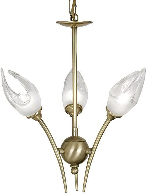 Oaks Lighting Lampa sufitowa Nima o wyglądzie antycznym z mosiądzu wraz z kloszami w kształcie tulipana z przezroczysty/matowego szkła zawieszenie łańcucha lub sufitu