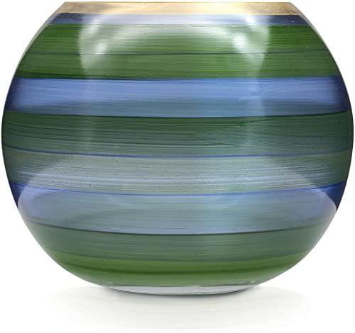 Angela Neue Wiener Werkstätte Wazon szklany Laguna ręcznie malowany, pozłacany, szkło, niebiesko-zielony, 14 cm