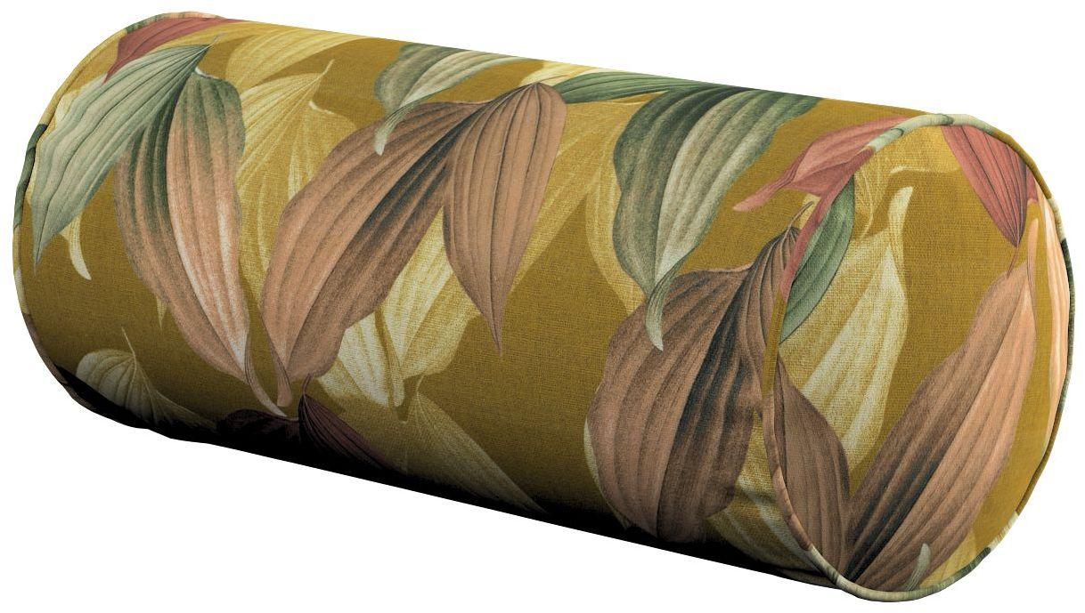 Poduszka wałek prosty, kolorowe liście na musztardowym tle, Ø16  40 cm, Abigail