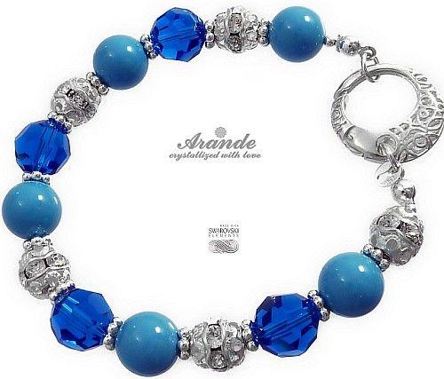 NOWE Swarovski Piękna Bransoletka CAPRI BLUE