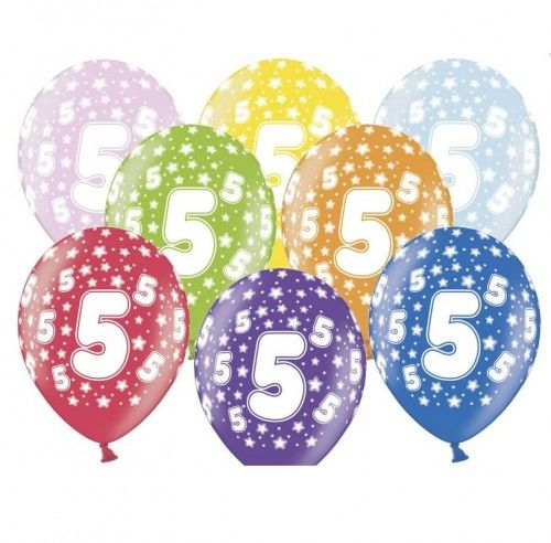 Balony na 5 urodziny z cyfrą 5 metaliczne, 6 szt.