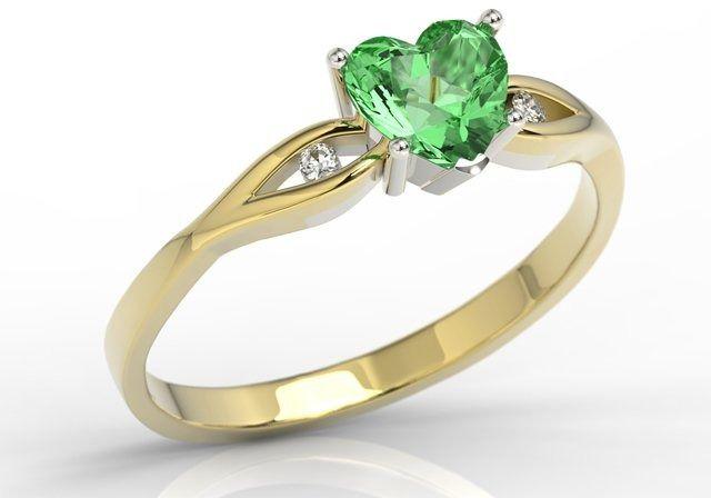 Pierścionek z żółtego i białego złota z zielonym topazem w kształcie serca i cyrkoniami lp-71zb