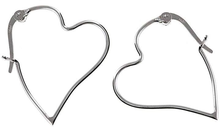 Eleganckie srebrne gładkie kolczyki celebrytka serce serduszko heart srebro 925 K1931