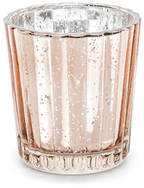 Świeczniki szklane - różowe złoto - 6 cm - 4 szt.