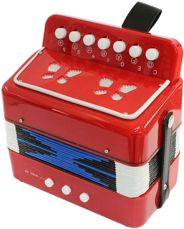 Concerto 701311 7 przycisków i 3 przyciski basowe, akordeon dziecięcy z 14 dźwiękami do gry, zabawka akordeon dla początkujących do nauki i słuchania muzyki, instrument muzyczny dla dzieci od 3 lat