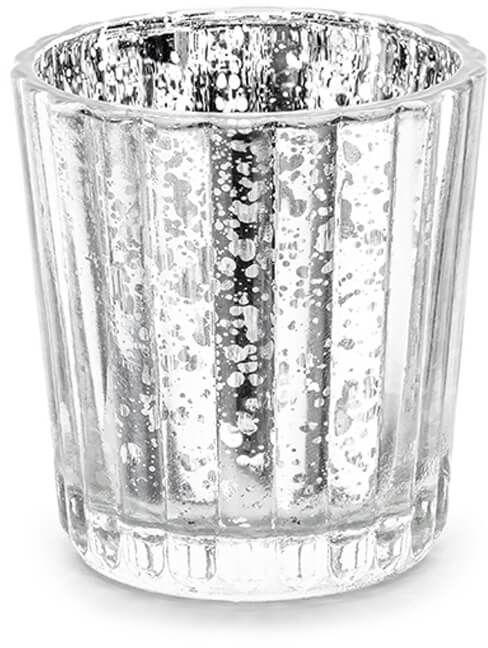 Świeczniki szklane - srebrne - 6 cm - 4 szt.