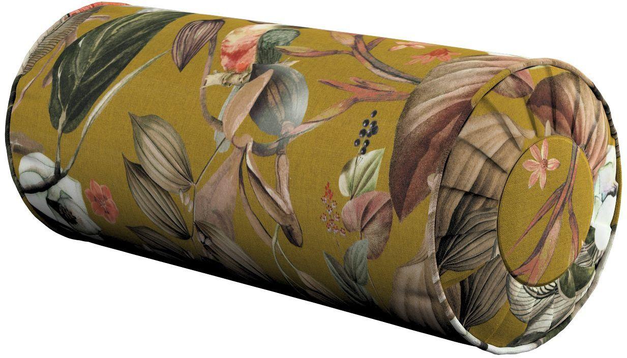 Poduszka wałek z zakładkami, kwiaty na musztardowym tle, Ø20  50 cm, Abigail