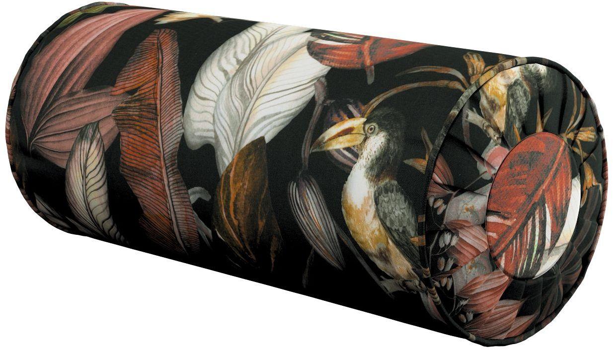 Poduszka wałek z zakładkami, kolorowe kwiaty na czarnym tle, Ø20  50 cm, Abigail