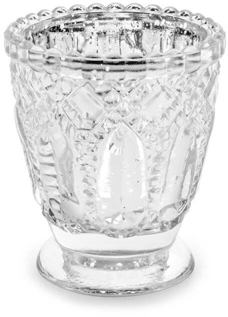 Świeczniki szklane - srebrne - 8 cm - 4 szt.
