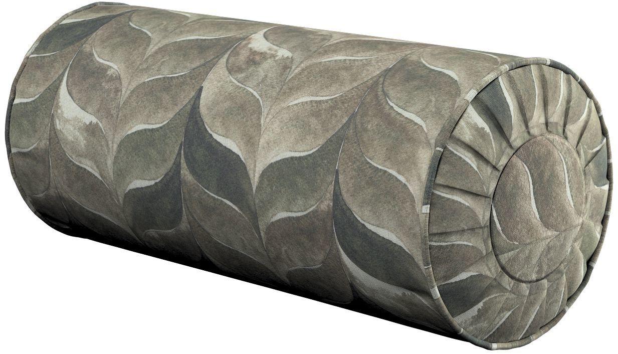 Poduszka wałek z zakładkami, odcienie brązu, beżu i zieleni, Ø20  50 cm, Abigail
