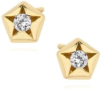 Delikatne pozłacane srebrne kolczyki celebrytka pięciokąt gwiazdka star cyrkonie srebro 925 Z1502E_G