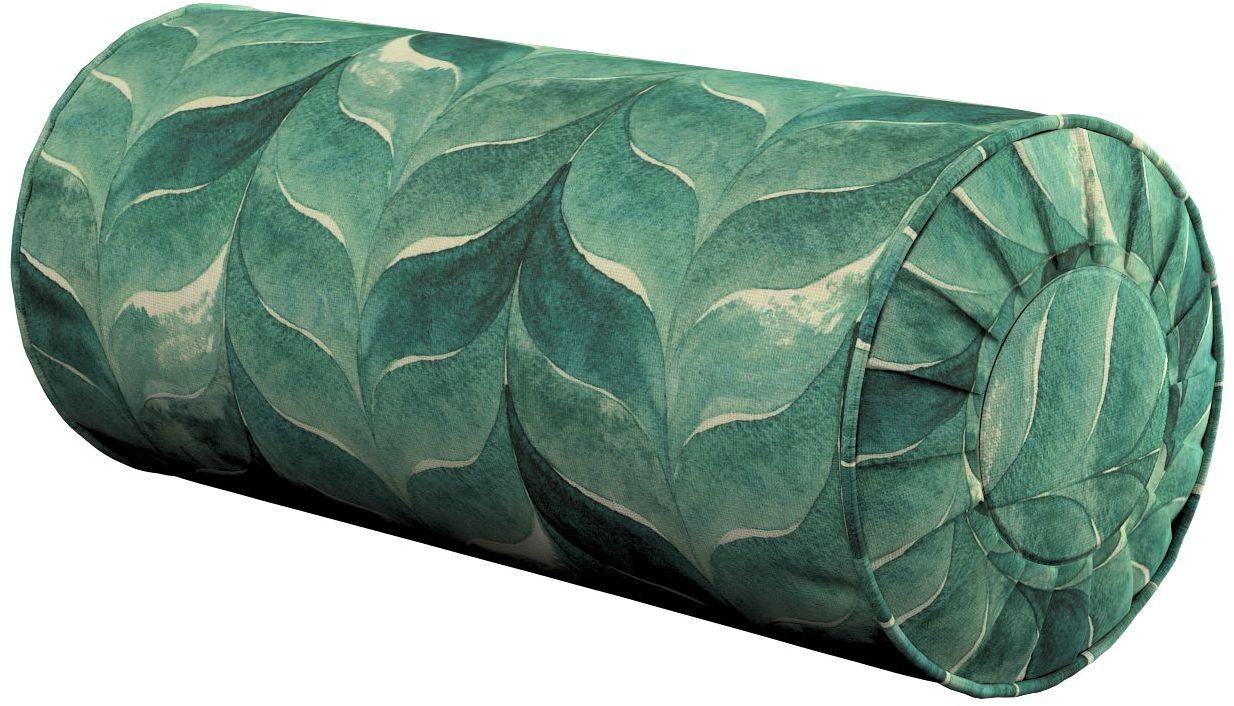 Poduszka wałek z zakładkami, szmaragdowo-zielony wzór na lnianym tle, Ø20  50 cm, Abigail