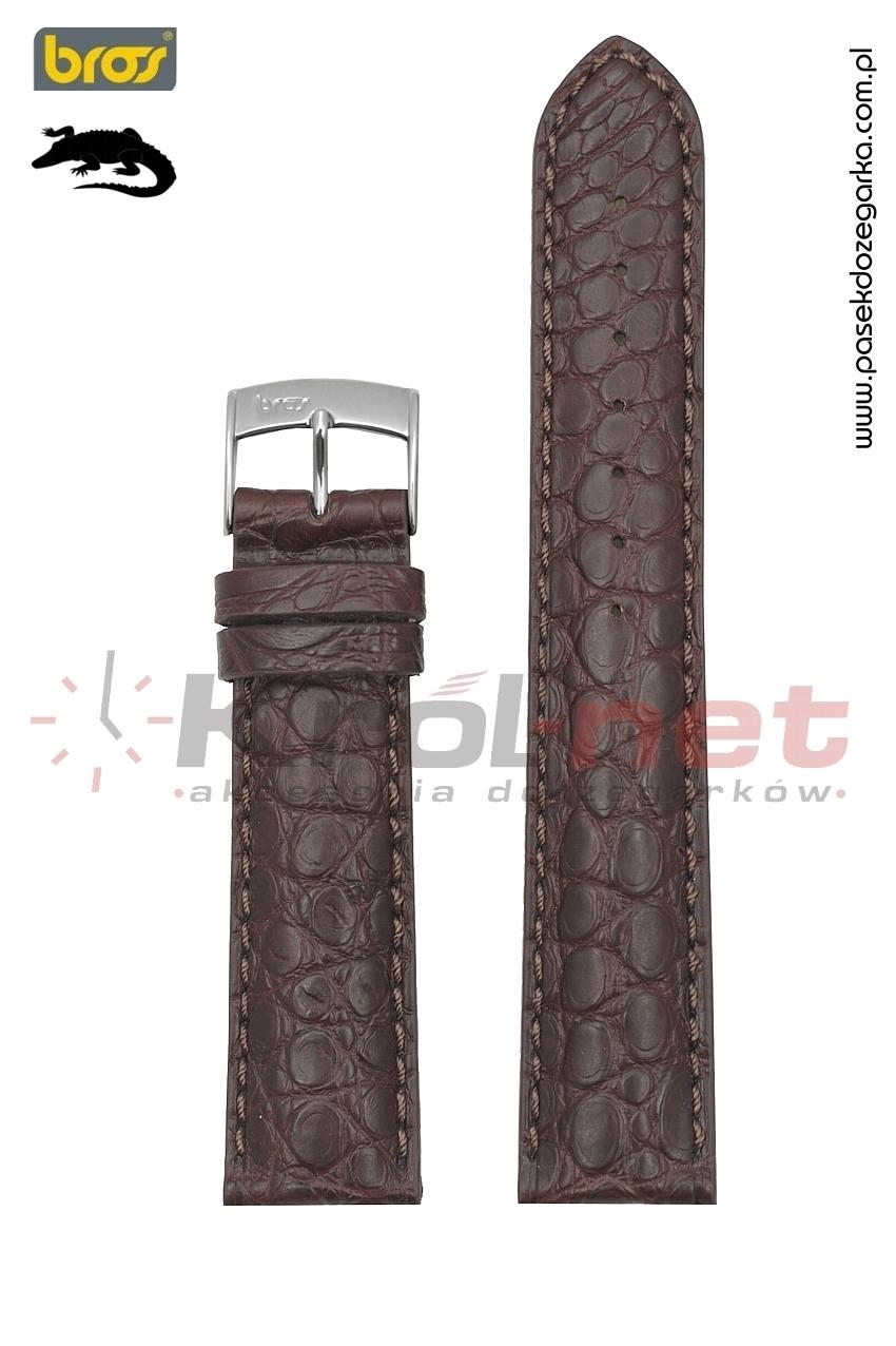 Pasek do zegarka Bros 8781/21/22 - oryginalny krokodyl, brązowy