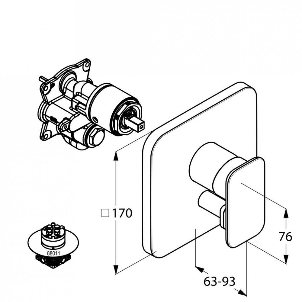 E2 Kludi podtynkowa bateria wannowo-natryskowa chrom