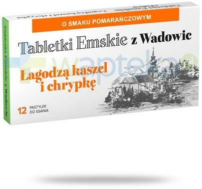 Tabletki Emskie z Wadowic o smaku pomarańczowym 12 tabletek